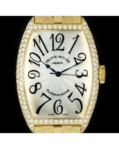 Franck Muller Cintree Curvex 18k Yellow Gold Silver Dial Diamond Set 5850 SC M D