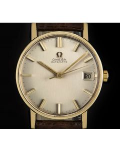 Omega Dress Watch Vintage Gents 9k Yellow Gold Silver Dial 161/2-5002