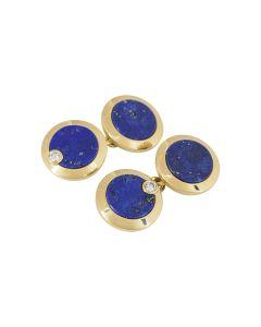 Cartier Cufflinks Men's 18k Yellow Gold Lapis Lazuli Diamond Set