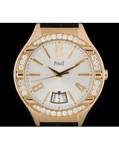 Piaget Polo Diamond Set Gents 18k Rose Gold Silver Dial G0A33159