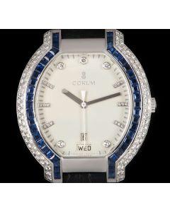 Corum Diamond & Sapphire Set Gents Dress Watch 18k White Gold White Dial 90.253.59