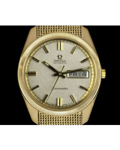 Omega Seamaster Day-Date Vintage Gents 9k Yellow Gold Silver Baton Dial