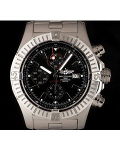 Breitling Super Avenger Men's Stainless Steel Black Dial B&P A13370