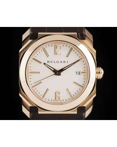 Bvlgari Octo Date Gents 18k Rose Gold Cream Dial BGOP38G