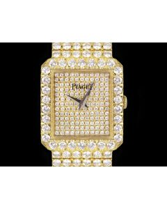 Piaget Fully Loaded Dress Watch Women's 18k Yellow Gold Pave Diamond Dial Diamond Set 83541 C626