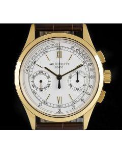 Patek Philippe Chronograph Men's 18k Yellow Gold Silver Dial B&P 5170J-001