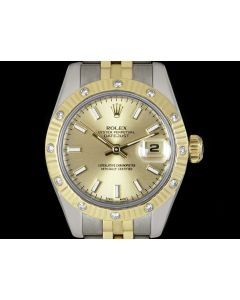 Rolex Datejust Women's Stainless Steel & 18k Yellow Gold Champagne Dial Diamond Set 179313