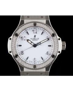 Hublot Big Bang Ladies Stainless Steel White Dial Diamond Set B&P 361.SE.2010.RW.1104