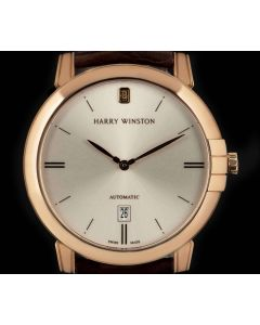 Harry Winston Unworn Midnight Gents 18k Rose Gold Silver Dial B&P MIDAHD42RR001