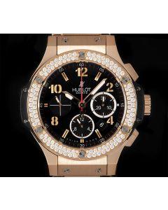 Hublot Big Bang Chronograph Gents 18k Rose Gold Black Dial Diamond Set B&P 301.PX.130.PX.114