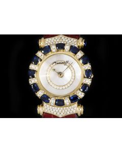 Moussaieff Elegance Ladies Wristwatch 18k Yellow Gold Mother Of Pearl Dial Sapphire & Diamond Set