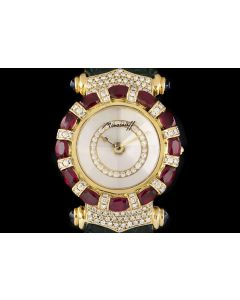 Moussaieff Elegance Ladies Wristwatch 18k Yellow Gold Mother Of Pearl Dial Ruby & Diamond Set