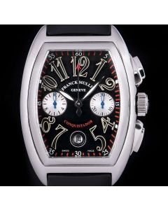 Franck Muller Conquistador Chronograph Gents Stainless Steel Black Dial B&P 8002 CC
