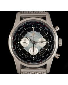 Breitling Transocean Chronograph Unitime Gents Stainless Steel Black Dial B&P AB0510U4/BB62-159A