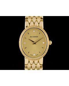 Bucherer 18k Yellow Gold Champagne Diamond Dial Ladies Dress Wristwatch