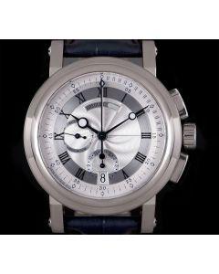 Breguet Marine Chronograph Gents 18k White Gold Silver Dial B&P 5827BB/12/5ZU