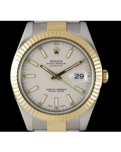 Rolex Datejust II Men's Stainless Steel & 18k Yellow Gold Ivory Dial B&P 116333