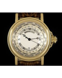 Breguet Marine Worldtimer Gents 18k Yellow Gold Silver Dial B&P 3700BA/12/9V6