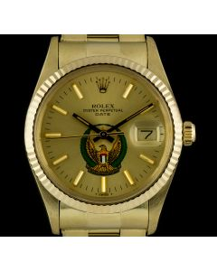 Rolex Date Men's 14k Yellow Gold Military UAE Crest Eagle Logo Dial 15037
