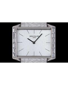 Patek Philippe Dress Watch Vintage Mid-Size 18k White Gold Silver Dial Diamond Set 3506/2