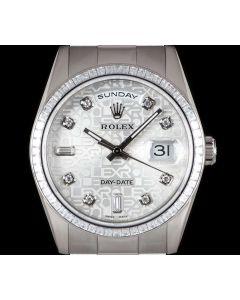 Rolex Day-Date Men's 18k White Gold Silver Jubilee Dial Diamond Set 118399