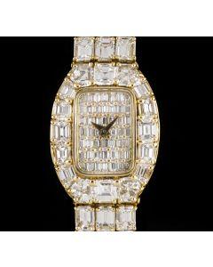 An Unworn Fully Loaded Diamond Set Ladies 18k Yellow Gold Emerald Cut Diamond Dial