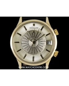 LeCoultre 10k Gold Plated Silver Dial Memovox World Time Vintage Gents Wristwatch