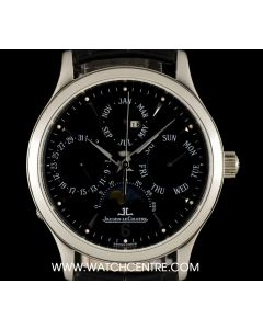 Jaeger LeCoultre Stainless Steel Master Control Perpetual Calendar Moonphase B&P 140.8.80.S