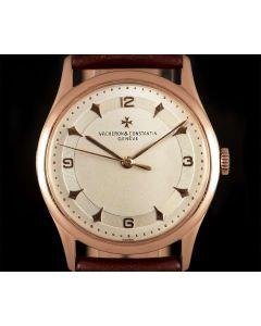 Vacheron Constantin Vintage Watch Gents 18k Rose Gold Silver Dial B&P 4217