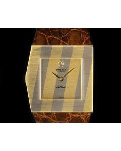 Rolex Rare Striped King Midas Left-Handed Cellini Vintage Men's 18k Yellow Gold & 18k White Gold 4912