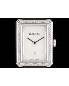 Chanel Boy Friend Diamond Set Ladies Dress Watch 18k White Gold Silver Guilloche Dial B&P H4470