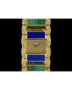 Piaget 18k Yellow Gold Rare Lapis Lazuli & Malachite Set Vintage Women's Watch