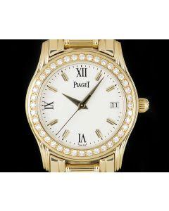 Piaget Polo Ladies 18k Yellow Gold White Dial Diamond Set 22005 M 501D