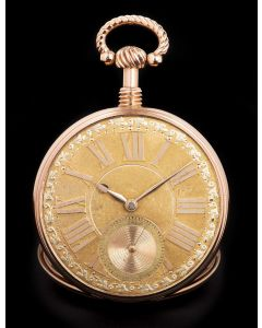 J.B. Adams Rare Minute Repeater Vintage 18k Rose Gold Pocket Watch Champagne Roman Dial