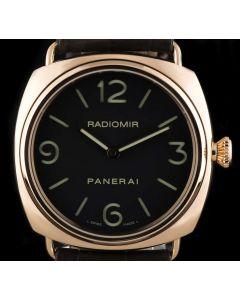 Panerai Radiomir Gents 18k Rose Gold Black Dial B&P PAM00231