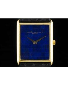 Vacheron Mid-Size Dress Watch 18k Yellow Gold Tiled Lapis Lazuli Dial