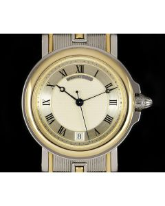 Breguet Marine Gents Stainless Steel & 18k Yellow Gold Silver Guilloche Dial 3400SA/12/X90