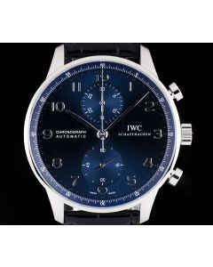 IWC Unworn Portuguese Chronograph Gents Stainless Steel Blue Dial B&P IW371491