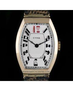 Cyma 14k Rose Gold Silver Arabic Dial Tonneau Vintage Gents Wristwatch
