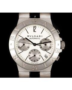 Bvlgari Diagono Chronograph Gents 18k White Gold White Dial B&P CHW35GAUTO