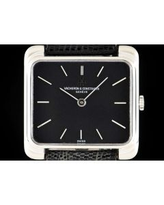 Vacheron Constantin Vintage Gents Wristwatch 18k White Gold Black Dial 2100