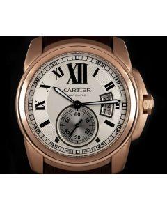 Cartier Calibre de Cartier Men's 18k Rose Gold Silver Dial W7100009