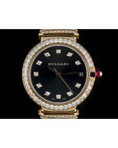 Bvlgari Lvcea Ladies 18k Rose Gold Diamond Set Black Opaline Guilloche Dial B&P 102191