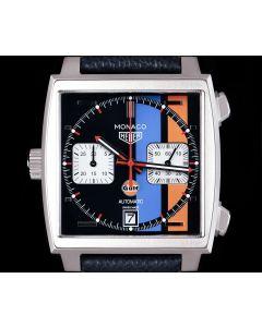 Tag Heuer Unworn Monaco Gents Stainless Steel Blue Gulf Dial B&P CAW211R.FC6401