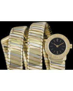 Bvlgari Tubogas Ladies 18k Tri-Gold Black Dial BB191T