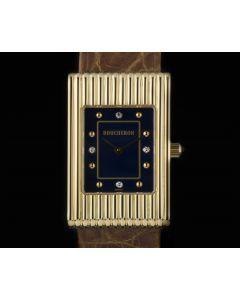 Boucheron 18k Yellow Gold Blue Diamond Dial Reflet Ladies Wristwatch