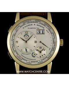 A Lange & Sohne 18k Yellow Gold Silver Dial Lange 1 Time Zone B&P 116.021