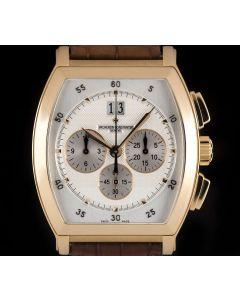 Vacheron Constantin Unworn Malte Tonneau Chronograph Gents 18k Rose Gold Silver Arabic Dial B&P 49180/000R-9361