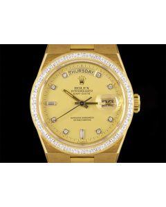 Rolex Rare Unworn Oysterquartz Day-Date NOS Men's 18k Yellow Gold Champagne Dial Diamond Set B&P 19058