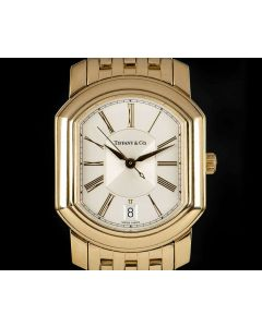 Tiffany & Co Resonator Gents 18k Yellow Gold Silver Dial Dress Watch